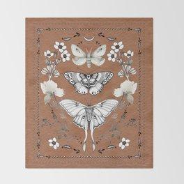 Three Moths Burnt Orange Throw Blanket