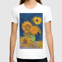 Six Sunflowers in Vase still life portrait painting by Vincent van Gogh T-shirt