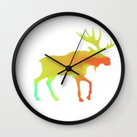 moose Wall Clocks featuring Moose by Steven Springer