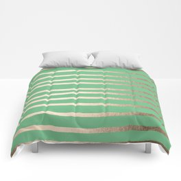 Abstract Drawn Stripes Gold Tropical Green Comforters