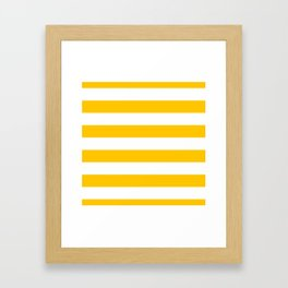 Aspen Gold Yellow and White Wide Horizontal Cabana Tent Stripe Framed Art Print