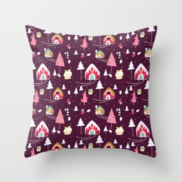 gingerbread house Purple #Christmas #Holiday Throw Pillow