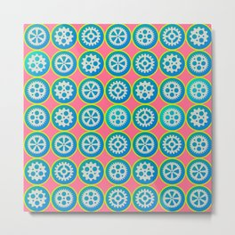 Gearwheels pattern Metal Print