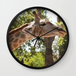 Photos of the head of a giraffe close up Wall Clock