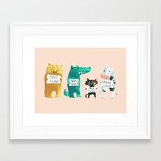 Animal idioms - its a free world Framed Art Print