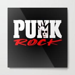 Punk Rock Skull Head Rocker Retro Punk Music Fan Metal Print
