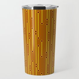 Dotted Lines in Mustard, Burgundy and Spicy Orange Travel Mug
