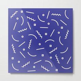 Post Modern Pattern in Blue Metal Print