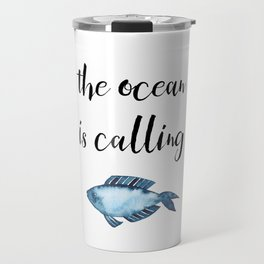 The ocean is calling / blue fish watercolor Travel Mug