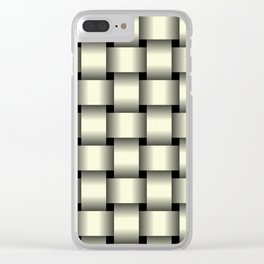 Large Light Yellow Weave Clear iPhone Case
