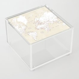 """Cream, white, red and navy blue world map, """"Deuce"""" Acrylic Box"""