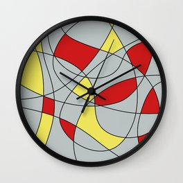 Lines Red Yellow Wall Clock