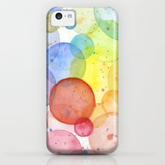 Watercolor Abstract Rainbow Circles and Splatters iPhone 5c Slim Case