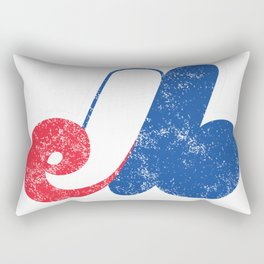 Montreal Expos Distressed Logo - Defunct Professional Baseball Team - Celebrate Quebec Sports History and Heristage - Retro Vintage Style Rectangular Pillow