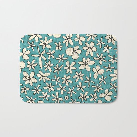 garland flowers blue Bath Mat