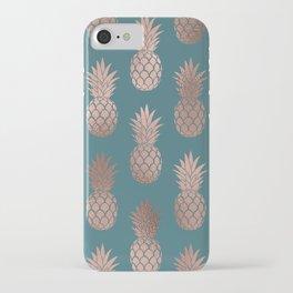 Modern Rose Gold Teal Green Pineapple Pattern iPhone Case
