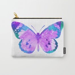 Pink-Lilac Butterfly With Glitter Blue Trim Carry-All Pouch