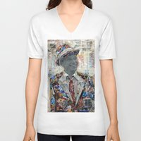 frank V-neck T-shirts featuring Frank by Katy Hirschfeld