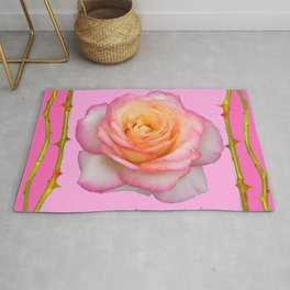 ROSE & RAMBLING THORNY CANES PINK BORDER PATTERNS Rug