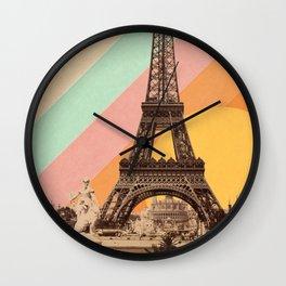 Rainbow Sky Above The Eiffel Tower Wall Clock