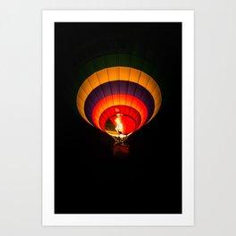 Night hot air balloon adventure Art Print