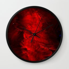 Red Abstract Paint Wall Clock