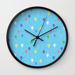 Bright Party Balloons Vector Pattern Wall Clock