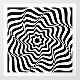Optical Curves (in abstract black and white lines) Art Print