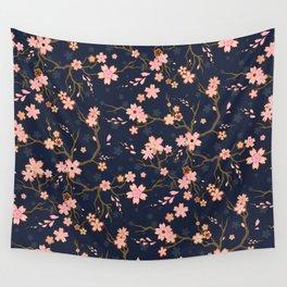 Elegant Dark Blue Sakura Batik Wall Tapestry