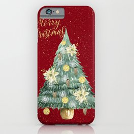 Christmas Tree Merry Christmas Red iPhone Case