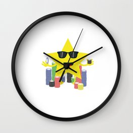 lucky star with poker chips Wall Clock