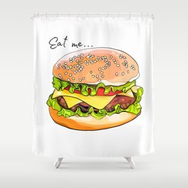 Illustration of a burger from fast food. Shower Curtain