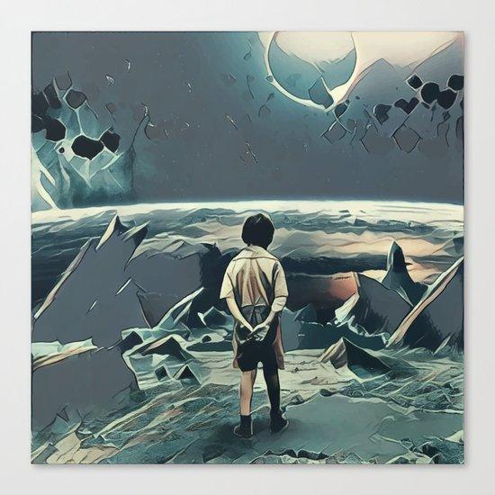 Lonely boy in cosmos Canvas Print
