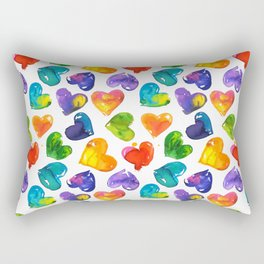 Watercolor colorful hearts pattern Rectangular Pillow