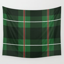 Green, Black and Red Striped Plaid Wall Tapestry