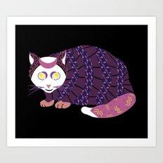 Abstract Cat [WHITE] Art Print