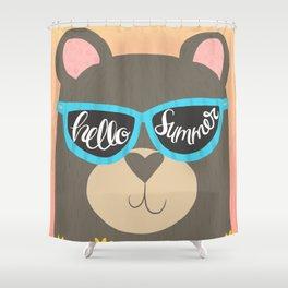 Hello Summer Bear Shower Curtain
