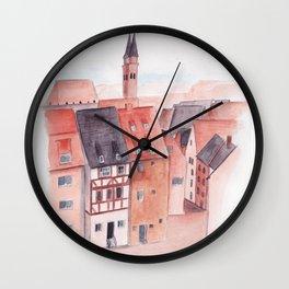 Small town watercolor illustration Wall Clock