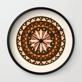 Jivin' - mandala trendy 70s style retro colors decor circle sun Wall Clock