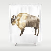 bison Shower Curtains featuring Bison by THE AESTATE