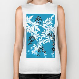TREE BRANCHES BLUE AND WHITE WITH BLACK BERRIES TOILE Biker Tank