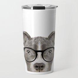 Pit bull with glasses Dog illustration original painting print Travel Mug
