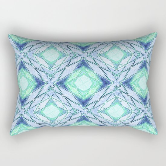 Abstract geometric pattern in blue, light blue,green, colours. Rectangular Pillow