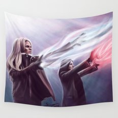 The Savior and the Evil Queen Wall Tapestry