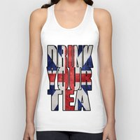 british Tank Tops featuring Tea / British by tshirtsz