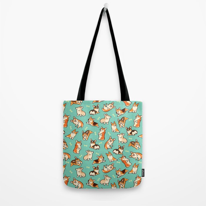 Jolly corgis in green Tote Bag