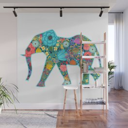 Floral Elephant - vivid Wall Mural