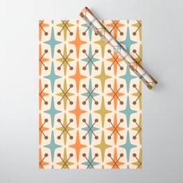 Mid Century Modern Abstract Star Pattern 441 Orange Brown Blue Olive Wrapping Paper