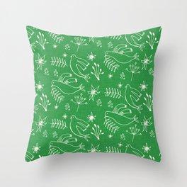 Christmas Dove Green Throw Pillow