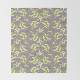 Vintage-style Lily-of-the-Valley on Mauve Throw Blanket